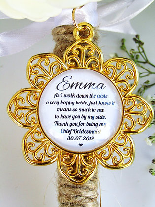 Chief Bridesmaid 'Happy Bride' Quote Bouquet Charm Gold Flower Surround