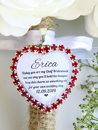 Chief Bridesmaid Quote 'Something Old' Bouquet Charm Red Diamantés