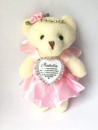 Pink Flower Girl Bear With Charm