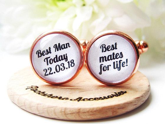 Best Man Custom Date Quote Cufflinks In Rose Gold or Silver