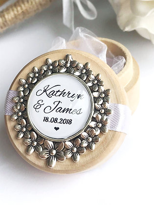 Wedding Ring Box Floral Design with Personalisation