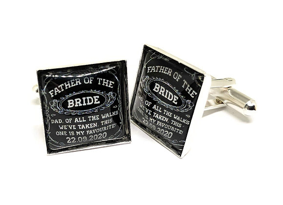 Father Of The Bride Cufflinks Black Square Design
