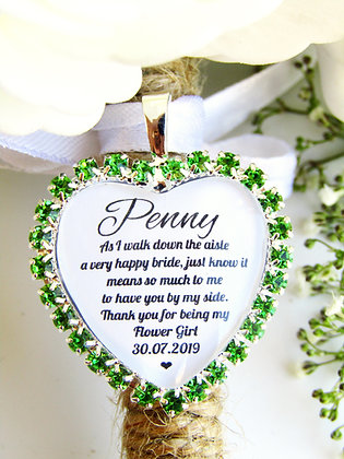 Flower Girl Quote 'Thank you' Bouquet Charm in Green Diamantes
