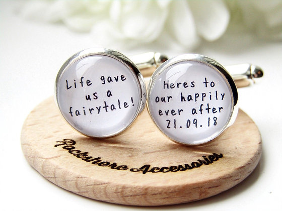 Life Gave Us A Fairytale Quote Groom Cufflinks