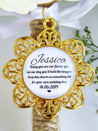 Flower Girl Quote 'Hold the Bouquet' Bouquet Charm Gold Flower Surr