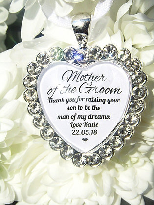 Mother Of The Groom 'Man of my Dreams' Bouquet Charm Thank You Diamanté