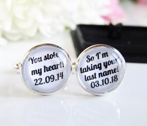 You Stole My Hearts So Im Takeing Your Last Name Personalised Groom Cufflinks