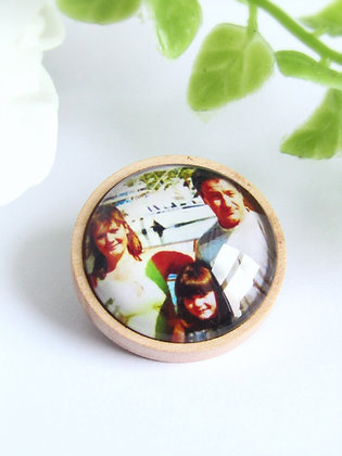 Personalised Photo Badge With Wooden Base