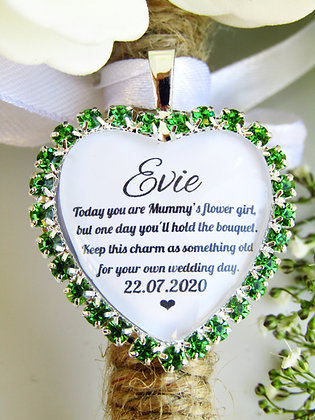 Mummy's Flower Girl Quote 'Something Old' Bouquet Charm in Green Diamantes
