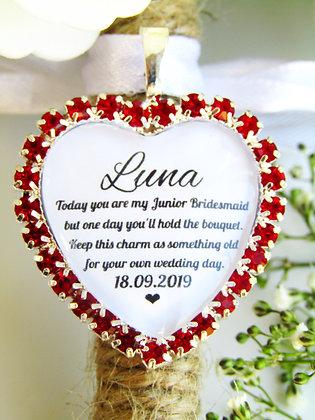 Junior Bridesmaid Quote 'Something Old' Bouquet Charm Red Diamantés