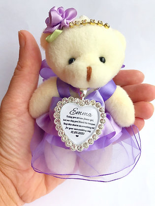 Purple Flower Girl Bear With Charm