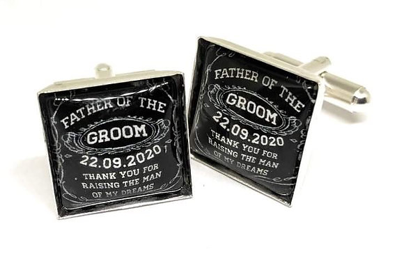 Father Of The Groom Cufflinks Black Square Design