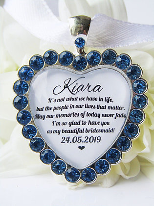 Bridesmaid Quote 'Glad to Have You' Bouquet Charm Blue Diamanté