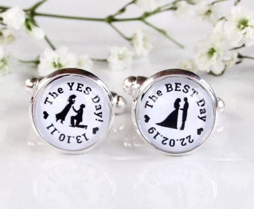 The Yes Day The Best Day Personalised Date Groom Cufflinks