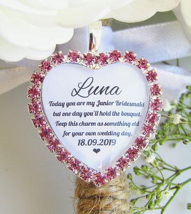 Junior Bridesmaid Quote 'Something Old' Bouquet Charm Pink Diamantés