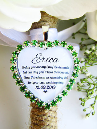 Chief Bridesmaid Quote 'Something Old' Bouquet Charm Green Diamantés