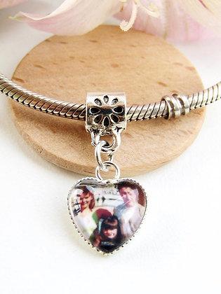 Flower Bead Valetines Heart Photo Charm For Bracelets