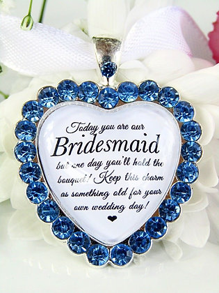 Bridesmaid Bouquet Charm In Sparkling Blue Diamantés