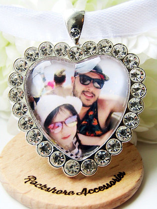 Heart Photo Bouquet Memory Charm With Diamantés