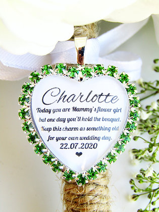 Mammy's Flower Girl Quote 'Something Old' Bouquet Charm Green Diamantés