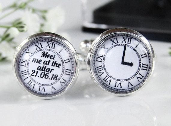 Personalised Groom Cufflinks Meet Me At The Altar Clock Design