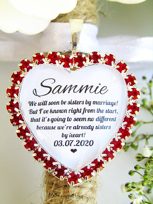 Sister In Law Quote 'Sisters By Heart' Bouquet Charm Red Diamantés