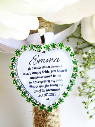 Chief Bridesmaid Quote 'Thank you' Bouquet Charm in Green Diamantes