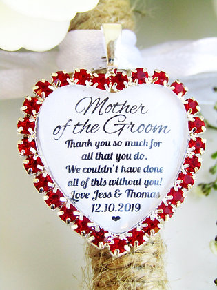 Mother Of The Groom Quote 'Thank You' Bouquet Charm Red Diamantés