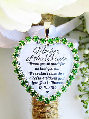 Mother Of The Bride Quote 'Thank You' Bouquet Charm Green Diamantés
