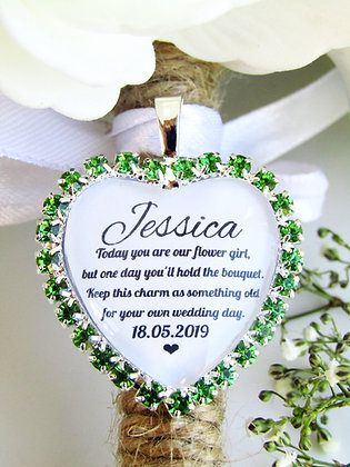 Flower Girl Quote 'Something Old' Bouquet Charm in Green Diamantés