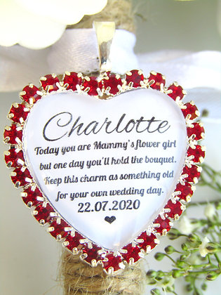 Mammys Flower Girl Quote 'Something Old' Bouquet Charm Red Diamantés
