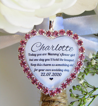 Mammy's Flower Girl Quote 'Something Old' Bouquet Charm Pink Diamantés