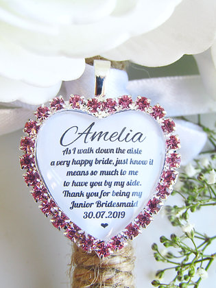 Junior Bridesmaid Quote 'Thank you' Bouquet Charm in Pink Diamantes