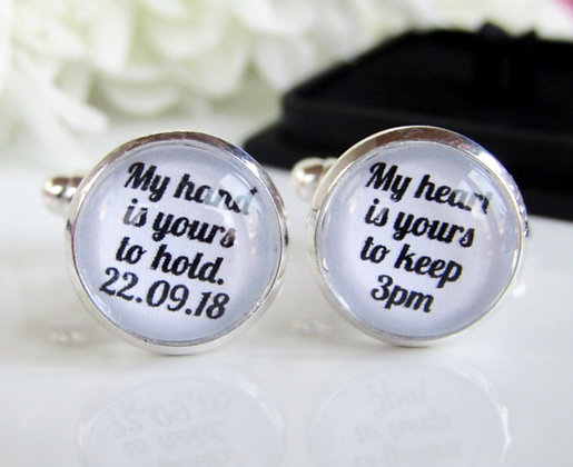 My Hand Is Yours To Hold My Heart Is Yours To Keep Personalised Cufflinks