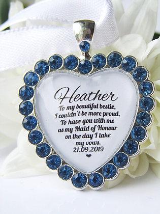 Maid Of Honour 'Bestie'  Blue Bouquet Charm Diamanté