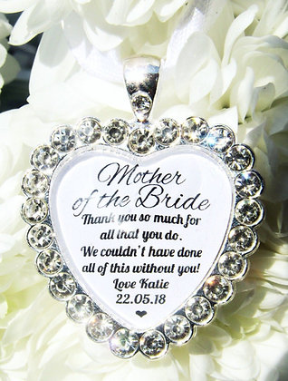 Mother Of The Bride 'Thank You so Much' Bouquet Charm Diamanté
