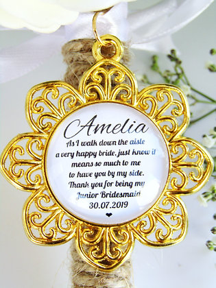 Junior Bridesmaid 'Happy Bride' Quote Bouquet Charm Gold Flower Surround
