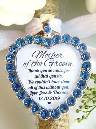 Mother Of The Groom Quote 'Thank You' Bouquet Charm Blue Diamantés