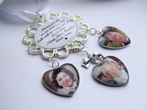 Triple Photo Memory Bouquet Charm
