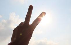 太陽にかざす手