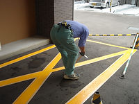 駐車場ライン作業①