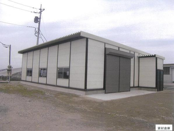 施工例:資材倉庫(鉄骨系倉庫・事務所・基礎工事)