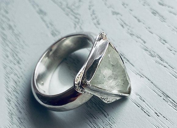 Triangle Rosecut Blue Beryl Ring