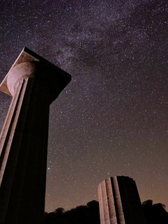 Ancient ruins and the milky way