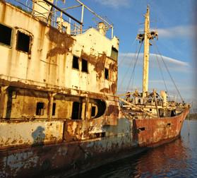 Abandoned shipwreck close to Athens
