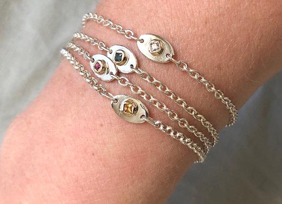 Aura Bracelet Sterling/9ct YG/ Coloured Sapphire