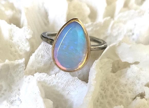 9ct Gold & Oxidised Silver Australian Opal Ring