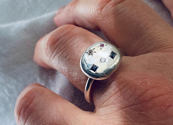 Starscape Multi-coloured sapphire ring Size P
