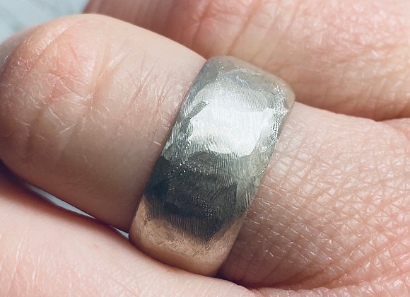 Canyon wide band sterling silver ring