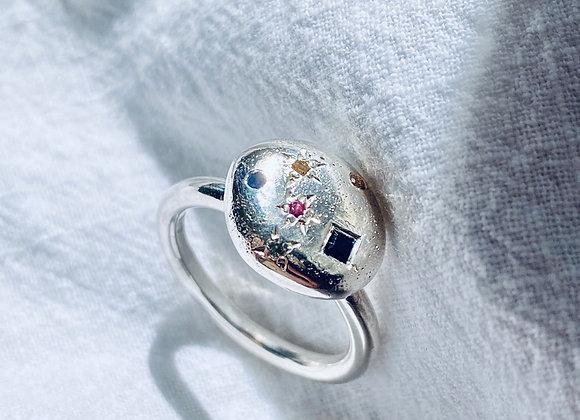 Starscape Multi-coloured sapphire ring size O